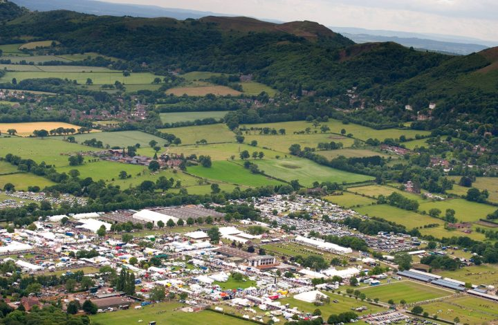 aerial view of the three counties show ground showing all the stalls