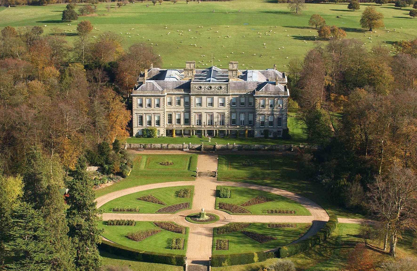 an-aerial-view-of-Ragley-hall-and-gardens